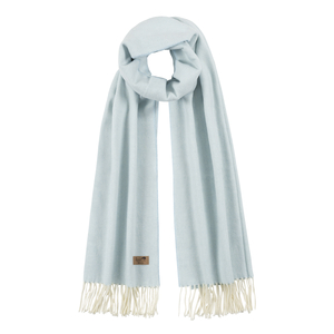 Image Baby Blue Cotton Blend Herringbone Scarf
