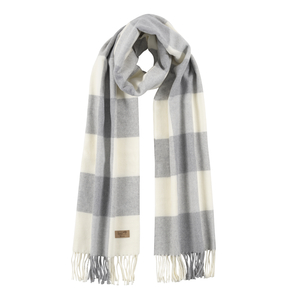 Image Light Gray Cotton Blend Buffalo Check Scarf