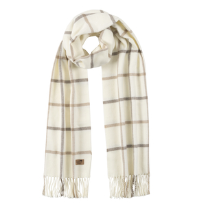 Image Barnwood & Dune Cotton Blend Tattersall Plaid Scarf