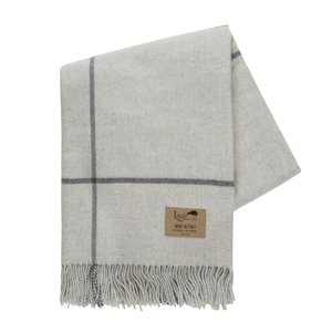 Image Light Gray and Charcoal Windowpane Cashmere Throw