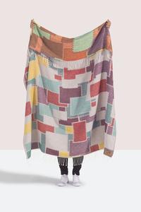 Image Multi Color Cobblestone Cotton  Jacquard Throw
