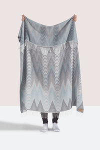 Image Gray/Teal Deco Cotton Jacquard Throw