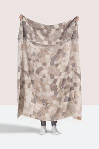 Image Taupe Mosaic Cotton Jacquard Throw