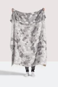 Image Light Gray Mosaic Cotton Jacquard Throw